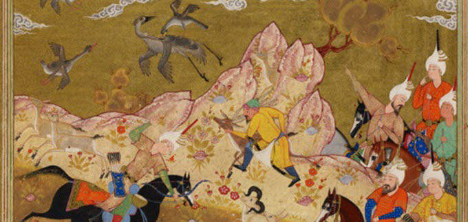 K90103-71-Or.1359-f.164a-Timur-watching-the-princes-and-nobles-hunting-Jargeh-with-game-driven-up-in-a-circle